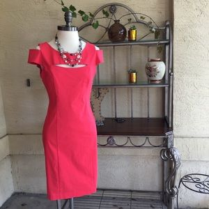 Coral pink sz 6 body con dress- necklace not inclu
